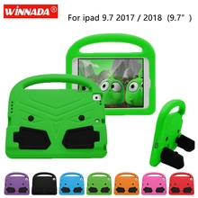 For Apple ipad 9.7 2017 Case Kids cute Tablet Protecter cover shock proof EVA foam Hand-held Stand Cover for ipad 9.7 2018 case portable kids steering wheel for apple ipad mini 1 2 3 eva drop resistance washable stand holder hand held protective case gifts