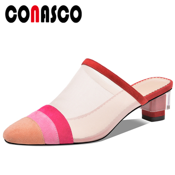 CONASCO 2020 Summer Fashion Concise Casual Women Kid Suede Sandals Mesh Pumps Slippers Mixed Colors Shoes Woman High Heels Mules