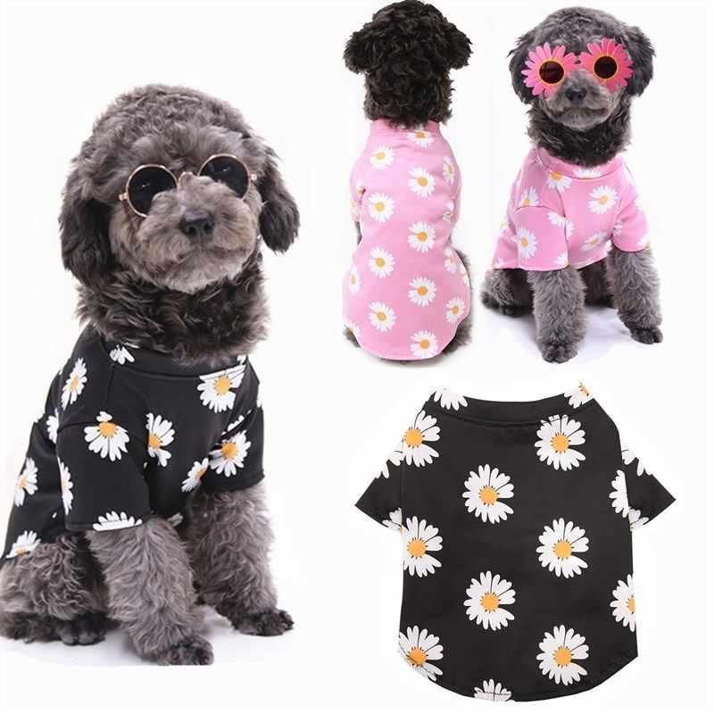 2020 Mới Thời Trang Hoa Chó Khoác Hoodie Xuân Hè In Hình Chó Áo Mềm Mại Con Chó Con Vest Áo Thun Mèo Quần Áo Cho Chó