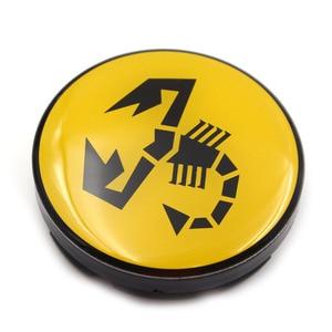 Image 4 - 20 pc/lote 56mm amarelo abarth carro emblema roda centro hub tampa aro emblema tampas centro roda escorpião 5ja601151a