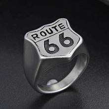 Valily Biker Road ROUTE 66 Ring 316L Stainless Steel High Quality USA Punk Matte Rings For Men Motor Mens Jewelry