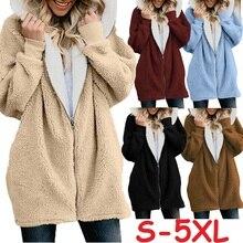 Women Coat Winter 2019 Causal Soft Hooded Pocket Zipper Fleece Plush Female Coat Warm Plus Size Faux