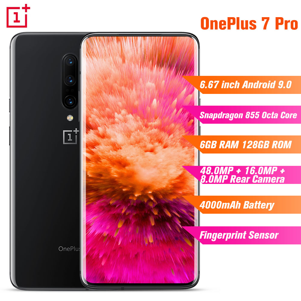 OnePlus 7 Pro 4G Smartphone 6.67'' Android 9.0 Snapdragon 855 Octa Core 2.84GHz 6GB RAM 128GB ROM 48.0MP 4000mAh Mobile Phones