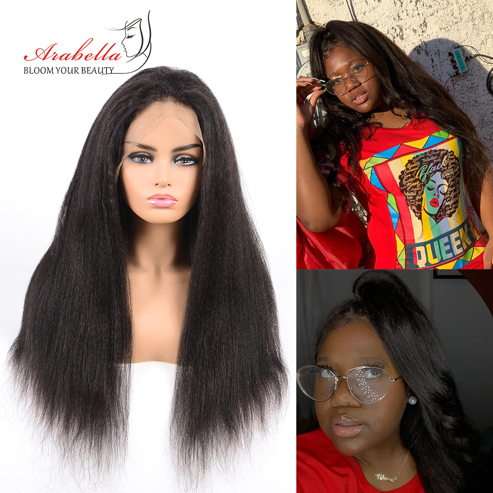 Kinky Straight Wig   13*4 Lace Front Wig With Baby Hair Pre Plucked Arabella  Yaki Closure Wig Glueless 5