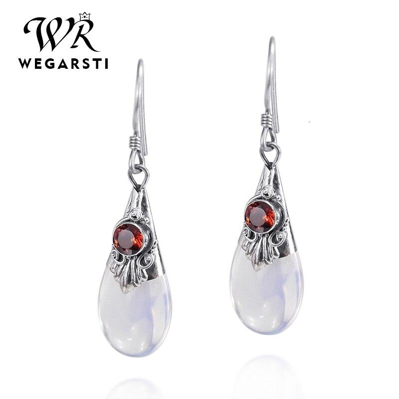 WEGARASTI Silver 925 Jewelry Droplets Amethyst Moonstone Dangle Drop 925 Sterling Silver Earring Female Wedding Party Jewelry