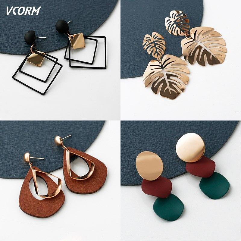 New Korean Acrylic Earrings For Women Statement Vintage Geometric Gold Dangle Drop Earrings 2019 Female Wedding Fashion Jewelry 3