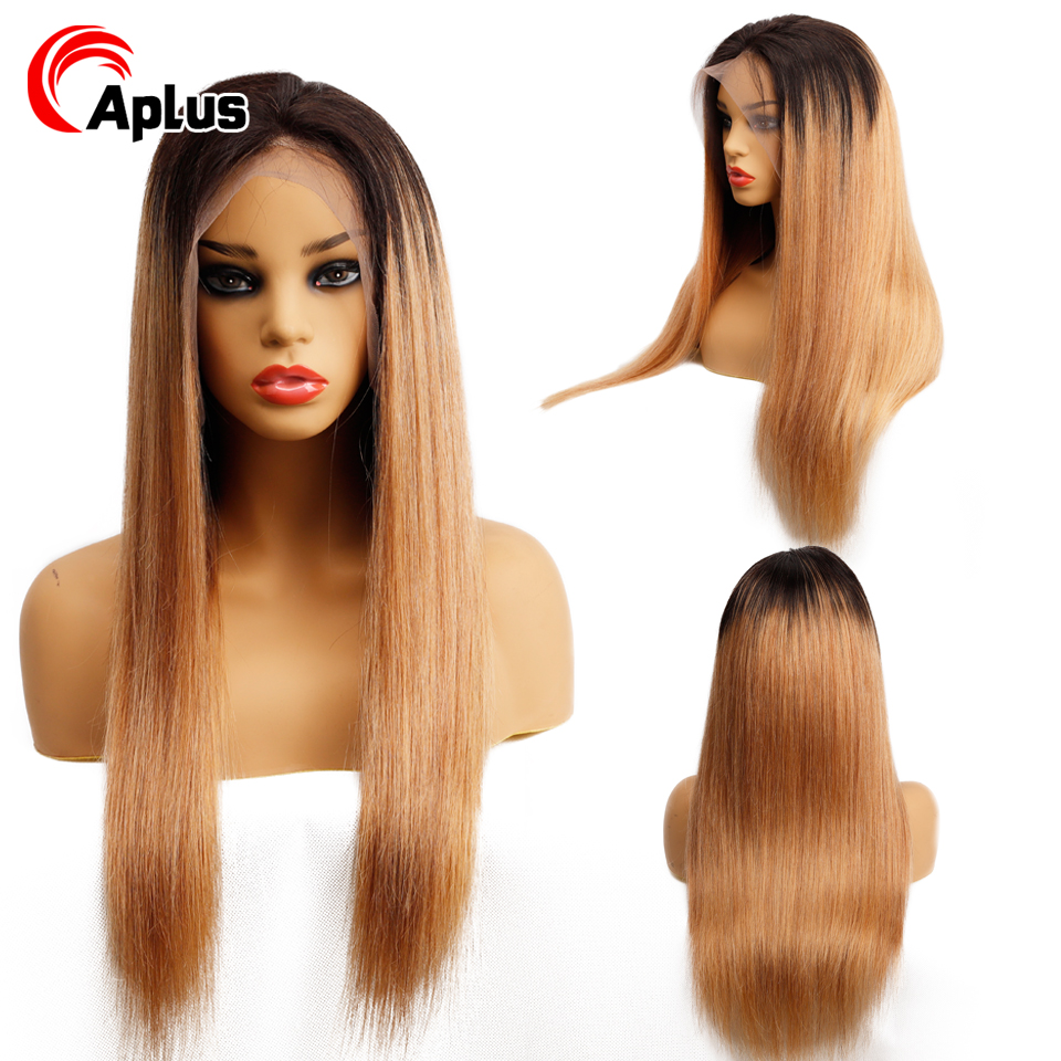 150% Density Ombre 1b/27 Honey Blonde Fontal Lace Human Hair Wigs Pre Plucked Brazilian Remy Human Hair Wigs With Baby Hair 13*4