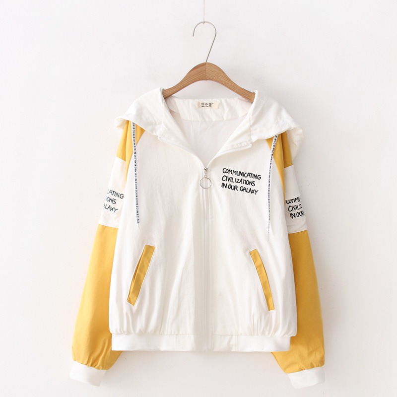 Spring and autumn Hooded Ladies top preppy style letter embroidery Hoodies top Harajuku zipper Female Coat 43