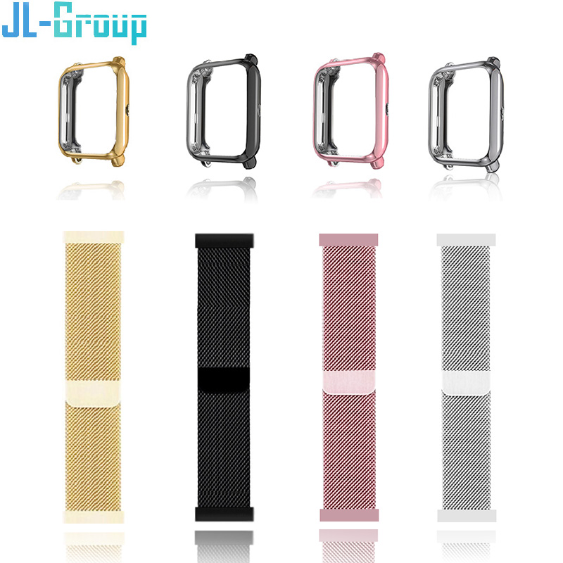 Watch Strap For Amazfit Bip With Case Xiaomi 20mm Metal Bracelet Watchband Wristband Protector Smart Wrist Band Accessories
