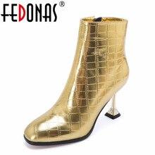 FEDONAS جديد مثير حذاء نسائي بكعب عالٍ حذاء من الجلد الذهب الفضة حفلة موسيقية حزب أحذية الزفاف امرأة الخريف الشتاء أحذية بوت قصيرة مضخات