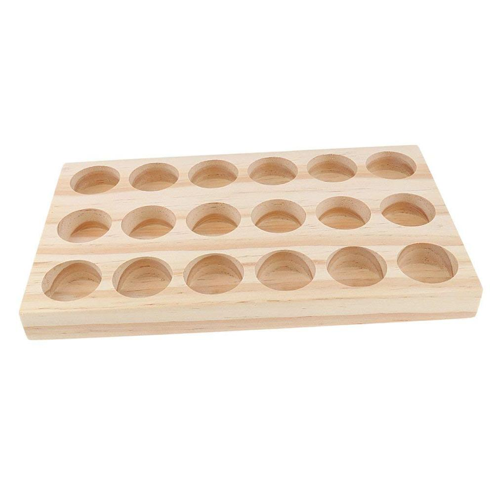 18 Hole Wooden Essential Oil Tray Manual Production Natural Pine Display Stand Demonstration Station