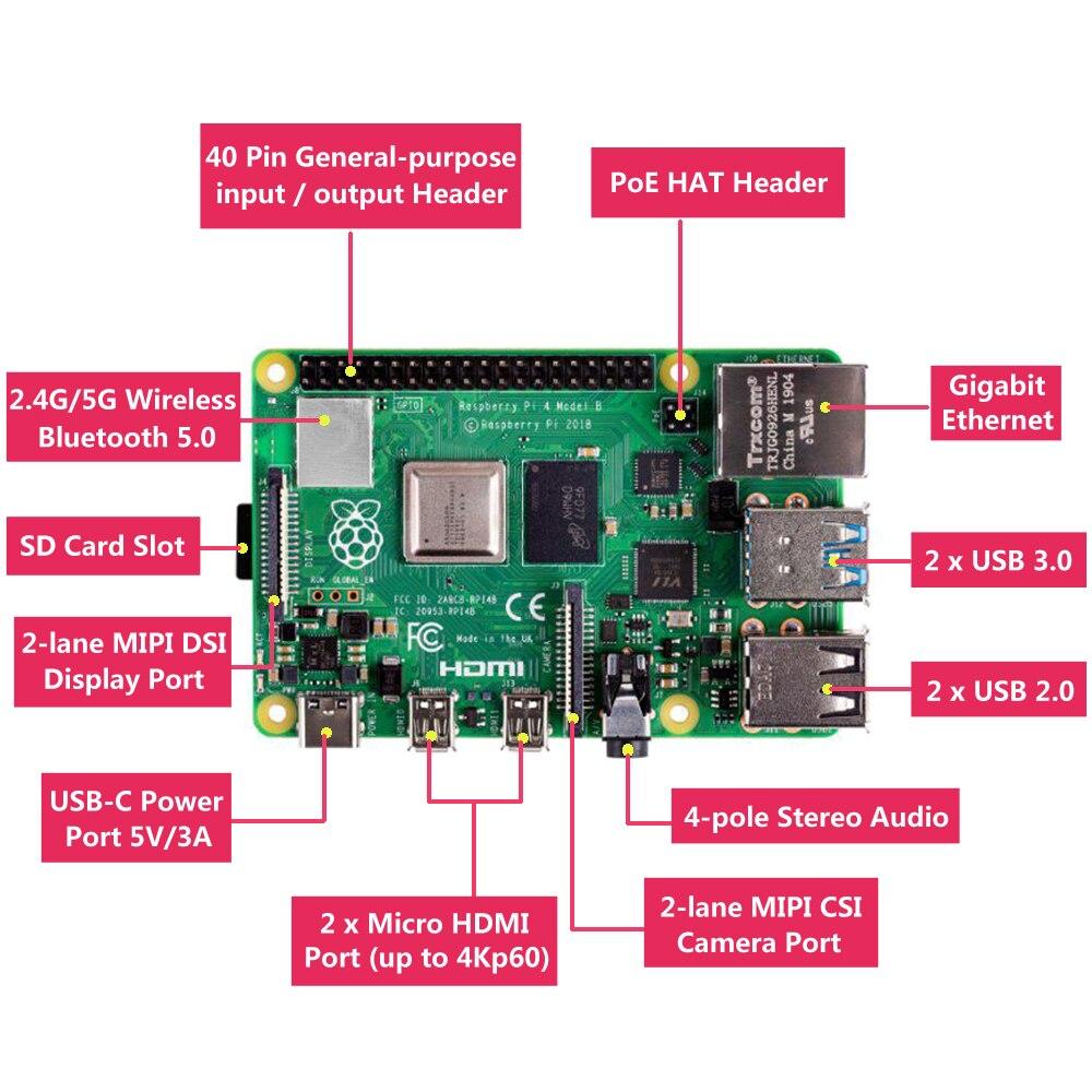 Image 2 - Raspberry Pi 4 Model B 1G 2G 4G RAM 4 Core 2.4G&5G WiFi Bluetooth 5.0 4K Micro HDMI RPI 4B better than Raspberry Pi 3 3B Plus-in Demo Board from Computer & Office