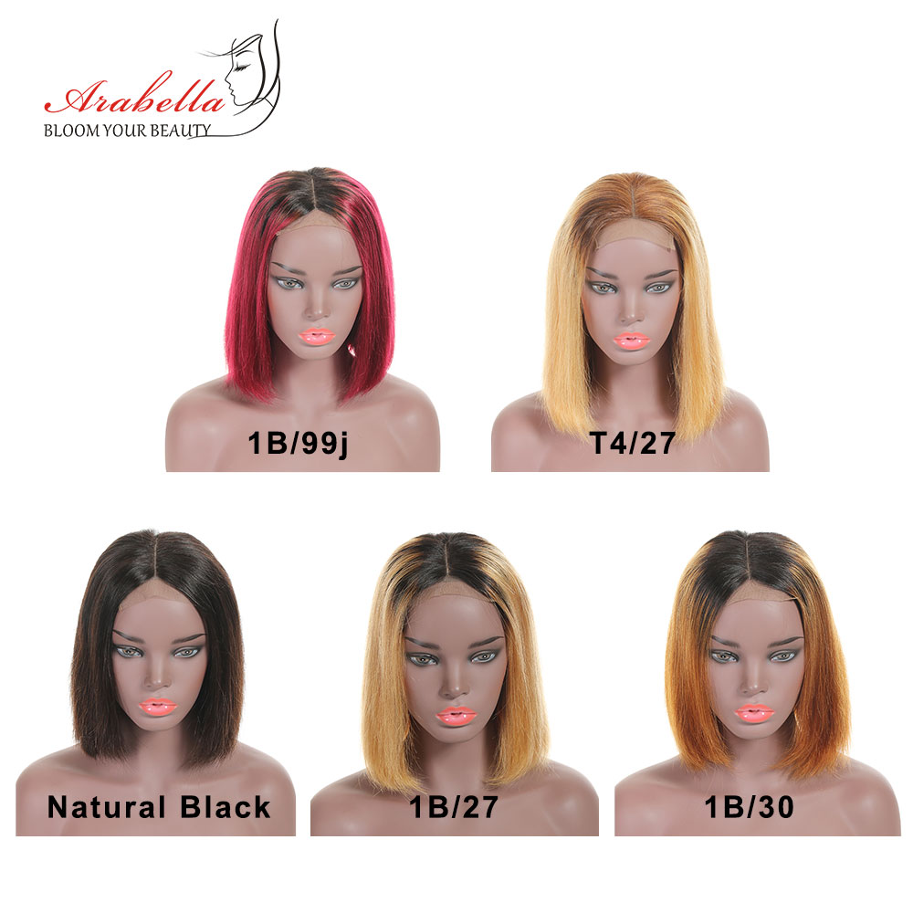 Ombre Short Bob Wigs  Straight  Wigs 180% Density Arabella Virgin Hair 4*4 Lace Wig Ombre Bob Wig 3