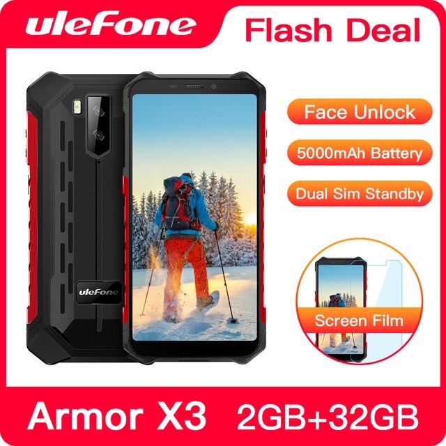 "Ulefone שריון X3 מחוספס Smartphone אנדרואיד 9.0 IP68 אנדרואיד 5.5 ""2GB 32GB 5000mAh 3G מחוספס טלפון סלולרי נייד טלפון אנדרואיד"