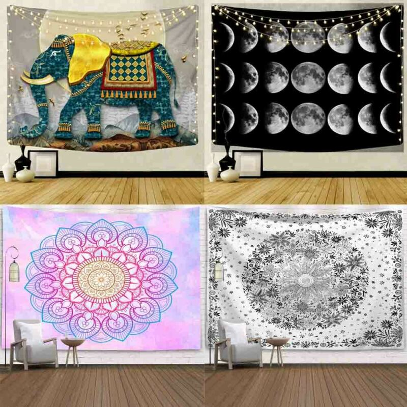 Multi Colour Cotton Wall Hanging Poster Tapestry Hippie Bohemian Mandala Free Shipping Wall Decor Beauty Badroom Art Decoration