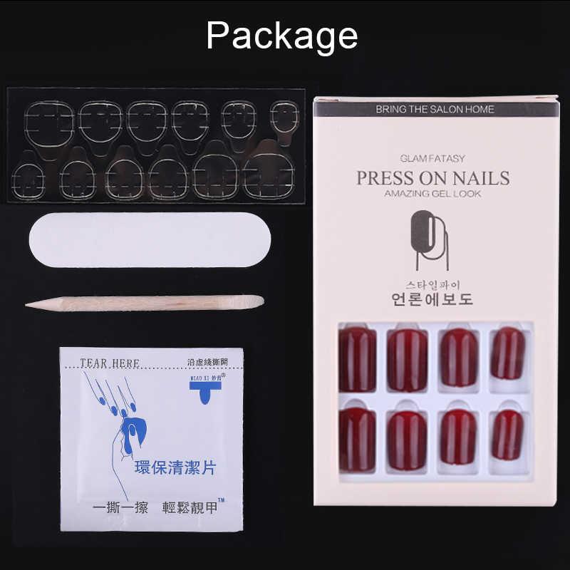 12 قطعة قابلة لإعادة الاستخدام عصا على الأظافر قابلة لإعادة الاستخدام لامعة غطاء كامل أظافر صناعية اصطناعية نصائح بتصميم مزين اضغط على رسومات أظافر
