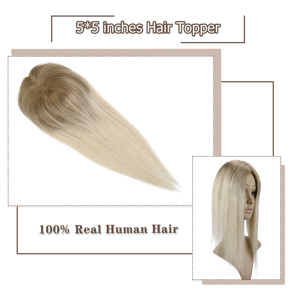 Moresoo Hair Topper Machine Remy Brazilian Human Hair Toppers With Clips Toupee Women Wigs 5*5 Inch #6/613 Blonde 8-18 Inch