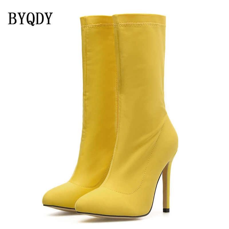 BYQDY bahar moda kadın botları sarı mavi sivri burun iplik elastik orta buzağı çizmeler ince topuklu ayakkabılar sonbahar kadın çorap çizmeler