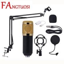 FANGTUOSI BM 800 profesjonalne Studio mikrofon pojemnościowy dźwięku Mic zestawy z Shock góra do nagrywania transmisji Karaoke KTV