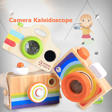 Cute kaleidoscope Camera Wooden Toy Kid Decor Photography Montessori Learning Early Educational Simulation Toys Best Gift