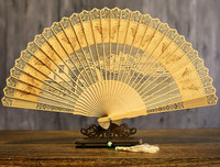 Old Changmen In National Customs Sandalwood Fan Suzhou Wenwan Arts And Crafts Hollow Out Classical Gift Fan Sandalwood Fan