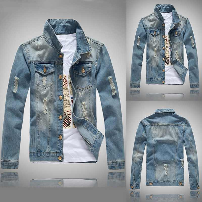 CALOFE slim fit uzun kollu erkek gömlek Denim mavi kot ceket uzun kollu delik ceket bahar Casual erkek Streetwear kovboy düğmesi eski ceketler