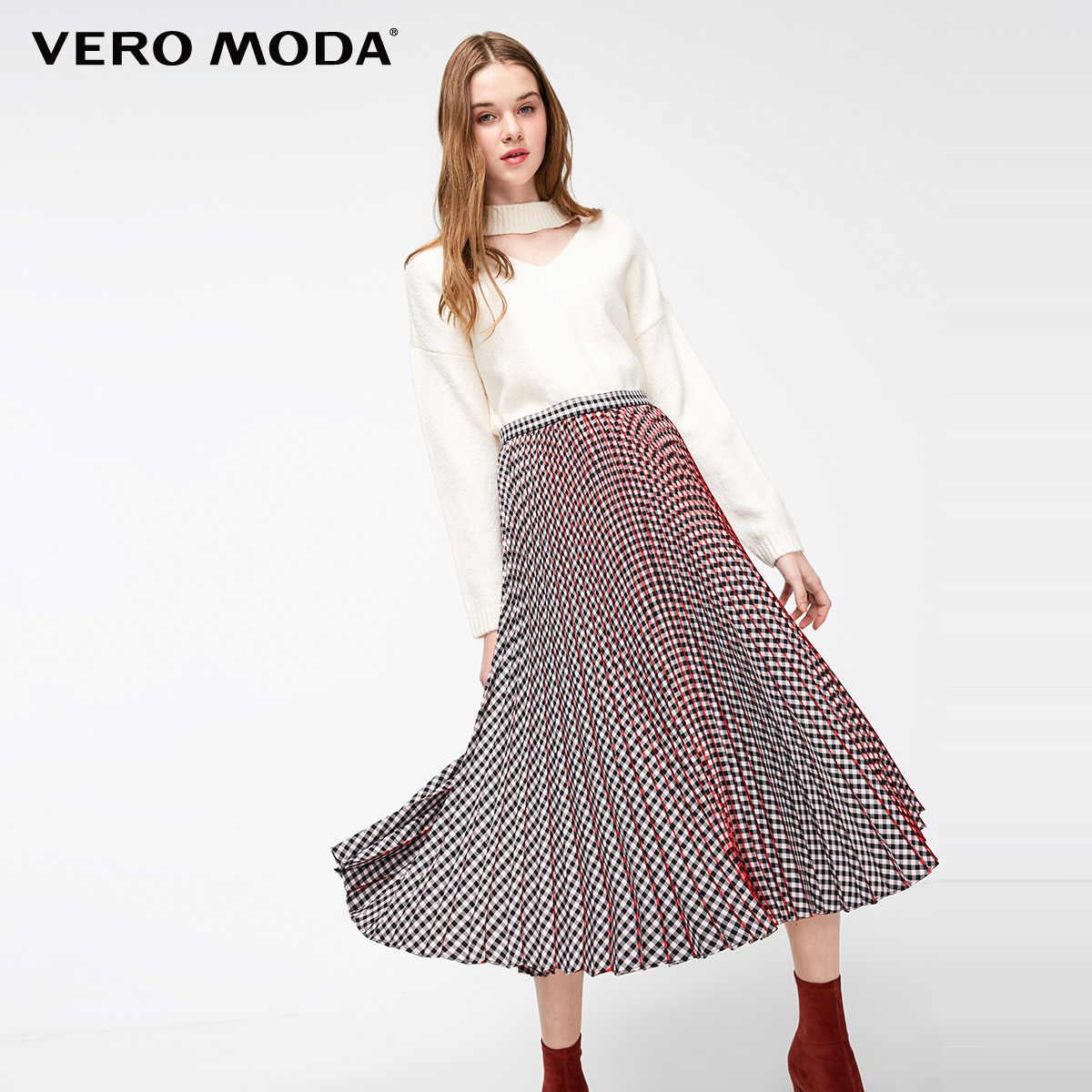 Vero Moda נשים של בציר מנוגדים משובץ קפלים חצאית | 319116508