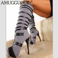 2020 New Plus Big Size 35 52 Gray Zip Fashion Sexy Knee High Heel Platform Autumn Girl Lady Females Women Boots X1841