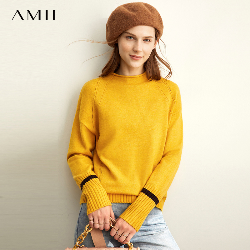 Amii Spring Semi-turtleneck Knit Sweater Women Causal Oneck Full Sleeves Loose Pullover Tops 11930334