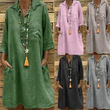 Women Vintage Shirt Dresses Summer Solid Loose Turndown Collar Three Quarter Sleeve Dress Female Pocket Casual Vestidos S-5XL