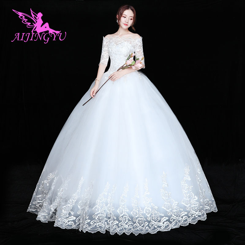 AIJINGYU 2018 Bridal Free Shipping New Hot Selling Cheap Ball Gown Lace Up Back Formal Bride Dresses Wedding Dress FU116