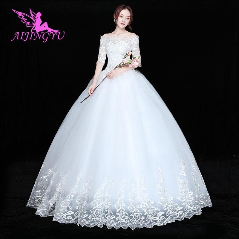 AIJINGYU 2018 Bridal Free Shipping New Hot Selling Cheap Ball Gown Lace Up Back Formal Bride Dresses Wedding Dress FU116
