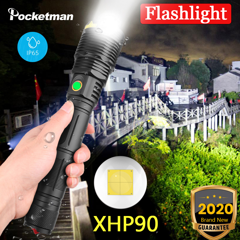 XHP90 <font><b>LED</b></font> Male Flashlight USB Rechargeable hunting <font><b>Torch</b></font> XHP50 XHP70.2 Zoomable Hand Lamp 26650 18650 Battery suitable camping image