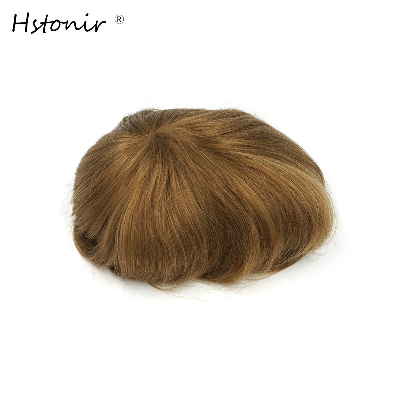 Hstonir Long Hair Natural Men And Women Wigs European Remy Hair Injection Thin Skin Toupee H076