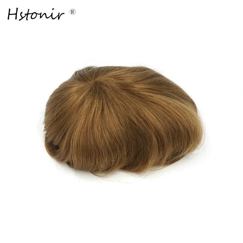 Hstonir Long Hair Natural Men And Women Wigs European Remy Hair Injection Thin Skin Toupee H076
