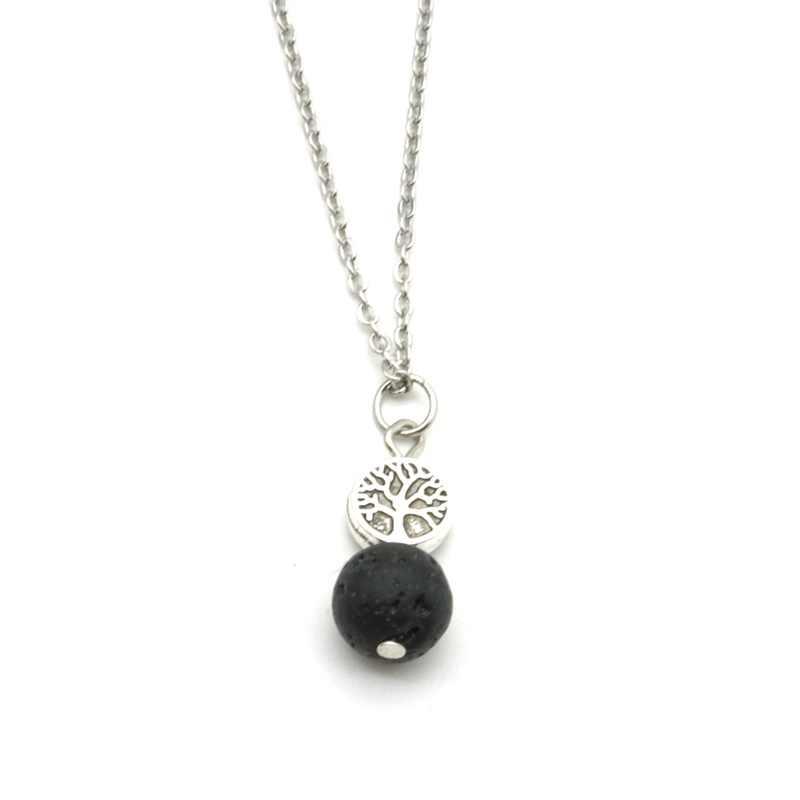 Boom Van Het Leven 10Mm Zwart Lava Stone Ketting Oorbellen Sieraden Set Diy Aromatherapie Etherische Olie Diffuser Kraag & Oorbellen