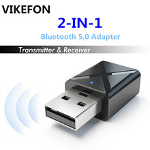 Vikefon bluetooth 5.0 receptor de áudio transmissor mini estéreo bluetooth aux rca usb 3.5mm jack para tv pc carro kit adaptador sem fio