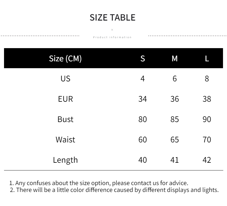 Size Chart of Shoulder Knitted Tank Tops