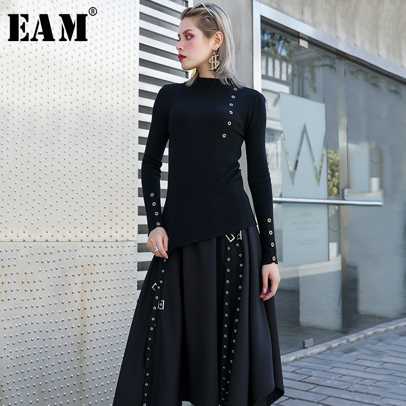 [EAM] Button Split Knitting Sweater Loose Fit High Collar Long Sleeve Women Sweater New Fashion Tide Autumn Winter 2019 1H747