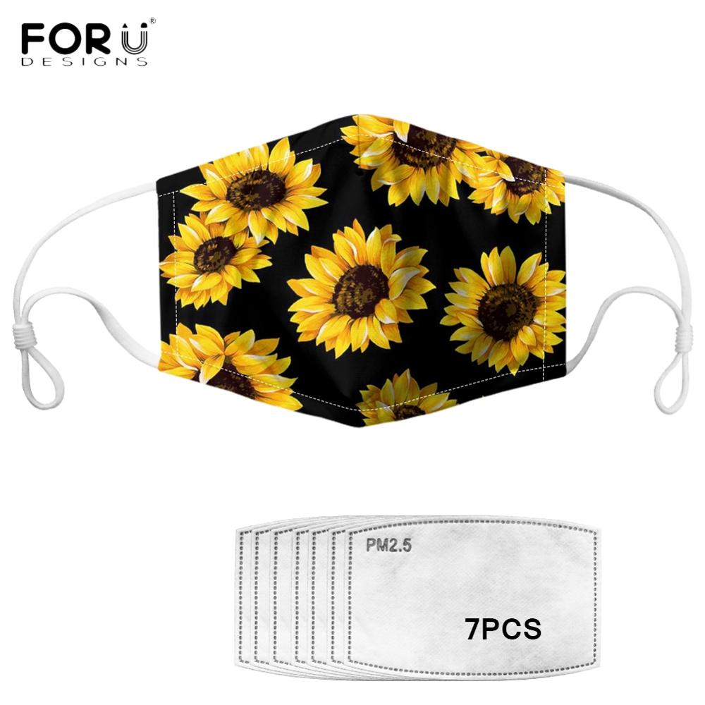 FORUDESIGNS Yellow Sunflower Floral Flower Printed Women Mouth Mask With 7Pcs Filter Anti-dust Mask Non-disposable Face Masks