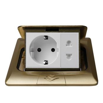 KEKA All Copper Gold  Panel 16A EU Germany Standard Table Socket + Universal 2 Hole slow Pop Up Floor Power Outlet