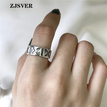 ZJSVER Korean Jewelry 925 Sterling Silver Rings Fashion Retro Geometric Patterns X Opening Adjustable Women Ring For Present(China)