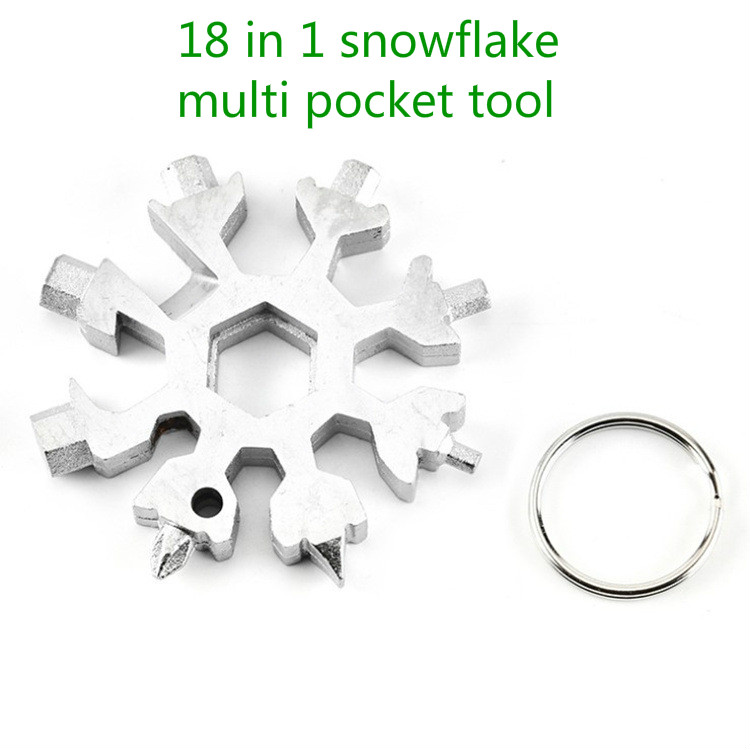 Portable 18 In 1 Multifunction Mini Tool Snowflake Multi Pocket Tool Keyring Key Ring Spanner Hex Wrench Camp Survive Outdoor