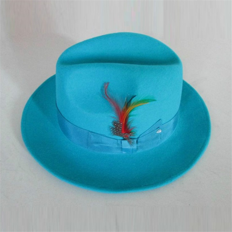 Fedora Hat Wool-Cap Light-Blue Felt Men's Classic Male Fashion B-8119 Lake title=