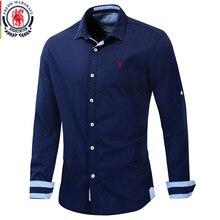Fredd Marshall 2019 Nieuwe Roll Up Mouw Klassieke Overhemd Mannen 100% Katoen Lange Mouwen Casual Dress Shirts Mannen Sociale solid Shirt 207