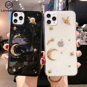 Lovebay Luxury Bling Glitter Phone Case For iPhone 11 Pro X XR XS Max 6 6S 7 8 Plus Plating Stars Moon Planet Soft Acrylic Cases(China)