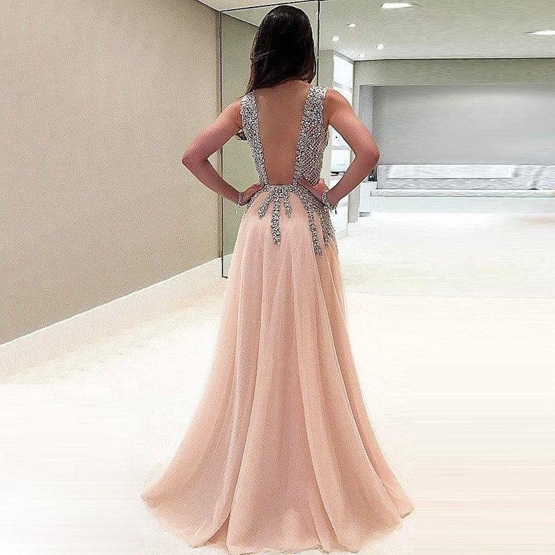 Sexy Pink Long Glitter Evening Dress 2020 Evening Gown Formal Party Dress Prom Special Occasion Open Back robe de soriee