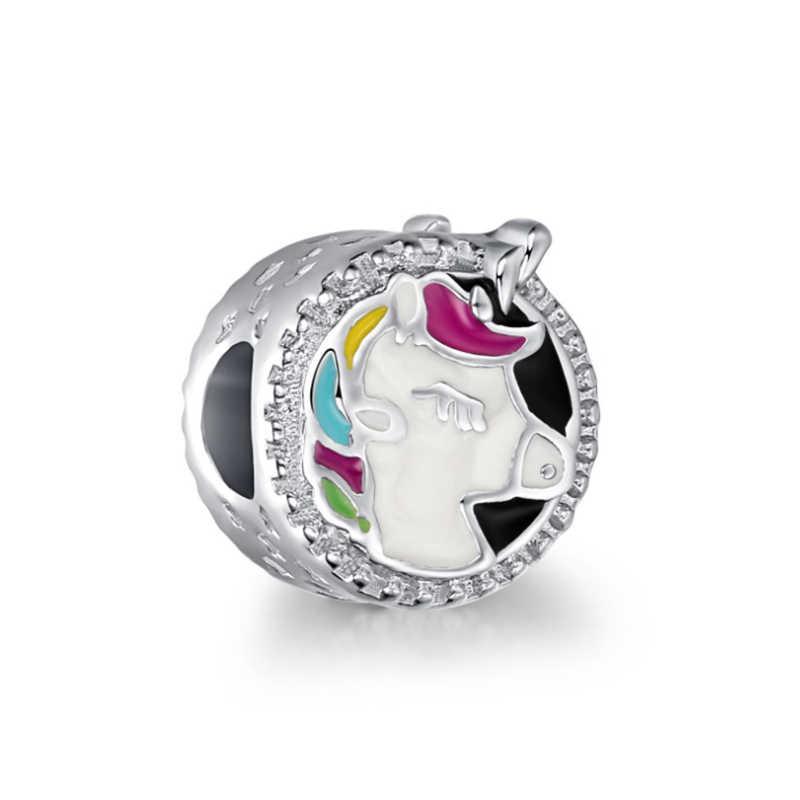 2 יח'\חבילה בעלי החיים יפה Unicorn קסם תליון חרוזים fit פנדורה צמיד שרשרת לנשים צבעוני CZ DIY כסף תכשיטי ביצוע