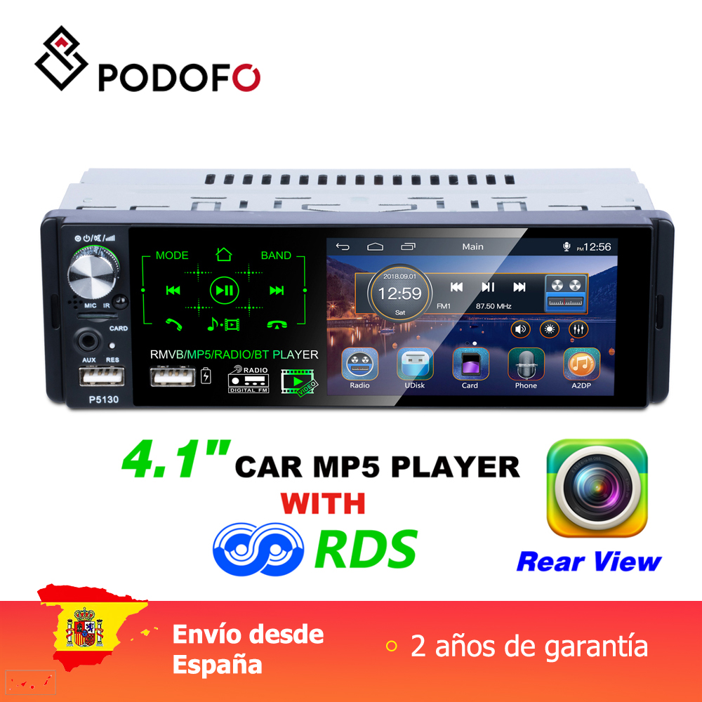 Podofo 1 din Car Multimedia Player 4.1'' inch MP5 player touch HD capacitive screen Car single set MP5 P5130 FM AM RDS image