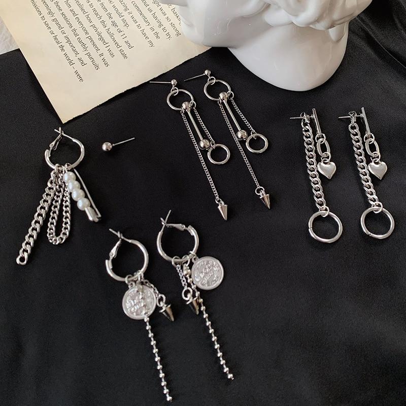 Корейские жемчужные серьги в форме сердца, висячие серьги из нержавеющей стали, висячие серьги с длинной цепочкой, ювелирные изделия kpop